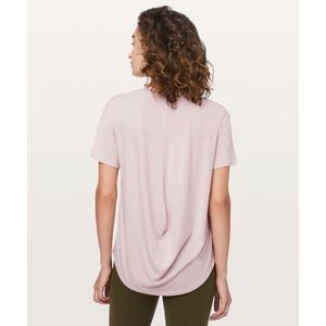 Lululemon Fall In Place Short Sleeve Heathered Pink Bliss / White